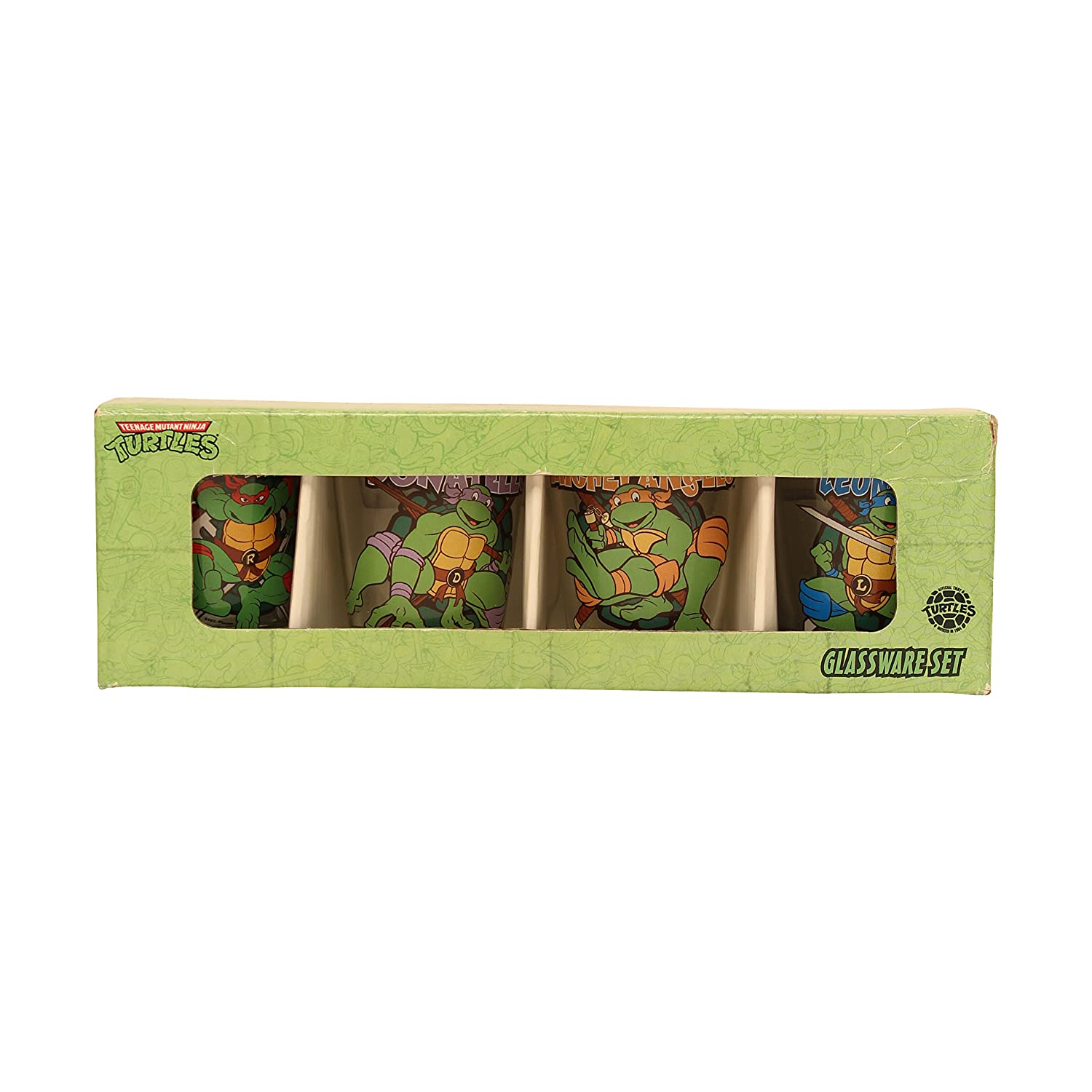 Silver Buffalo NT031SG8 Nickelodeon Teenage Mutant Ninja Turtles Character and Names Mini Glass Set, 4-Pack