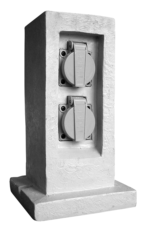Inotech - Bloque con 2 tomas de corriente para jardí n (resina, 16 A, 2 P+T, impermeable Ip 44, sin programador, cable H07Rn-F 3G, 1,5 mm² ) 5 mm²) 192420