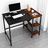 JOISCOPE Home Office Computer Desk,Small Study Writing Desk with Wooden Storage Shelf,2-Tier Industrial Morden Laptop…
