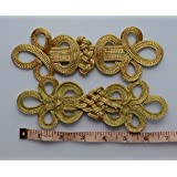 Lyracces Sewing Fasteners Braid Geometric Belt Knit Chinese Knot Closure Cheongsam Frog Buttons Extra Large 6.88in 5pair Gold Tone