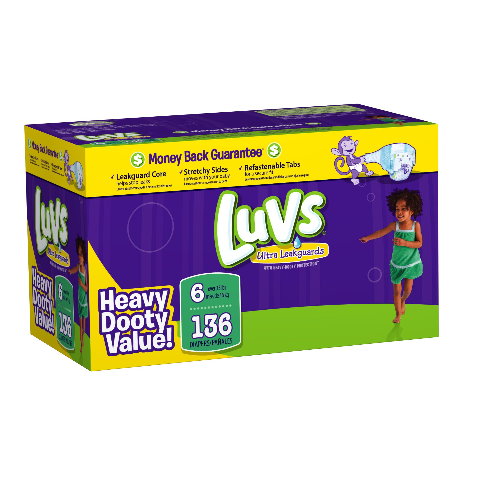 Luvs Premium Stretch Diapers with Ultra Leakguards Diapers, Size 6, 136 Count