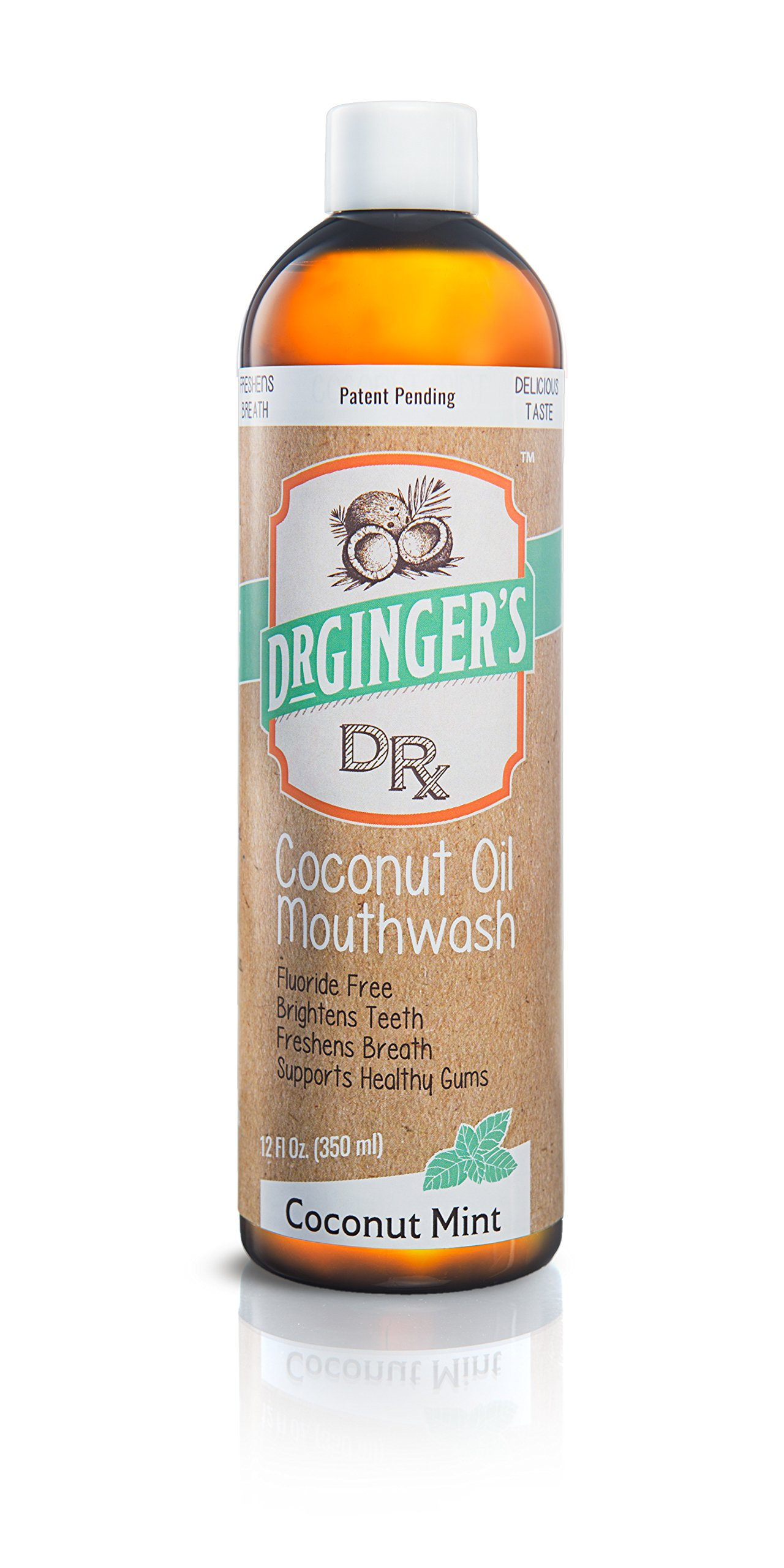 Dr Gingers Coconut Oil Pulling & Whitening Mouthwash, Coconut Mint, 12 oz