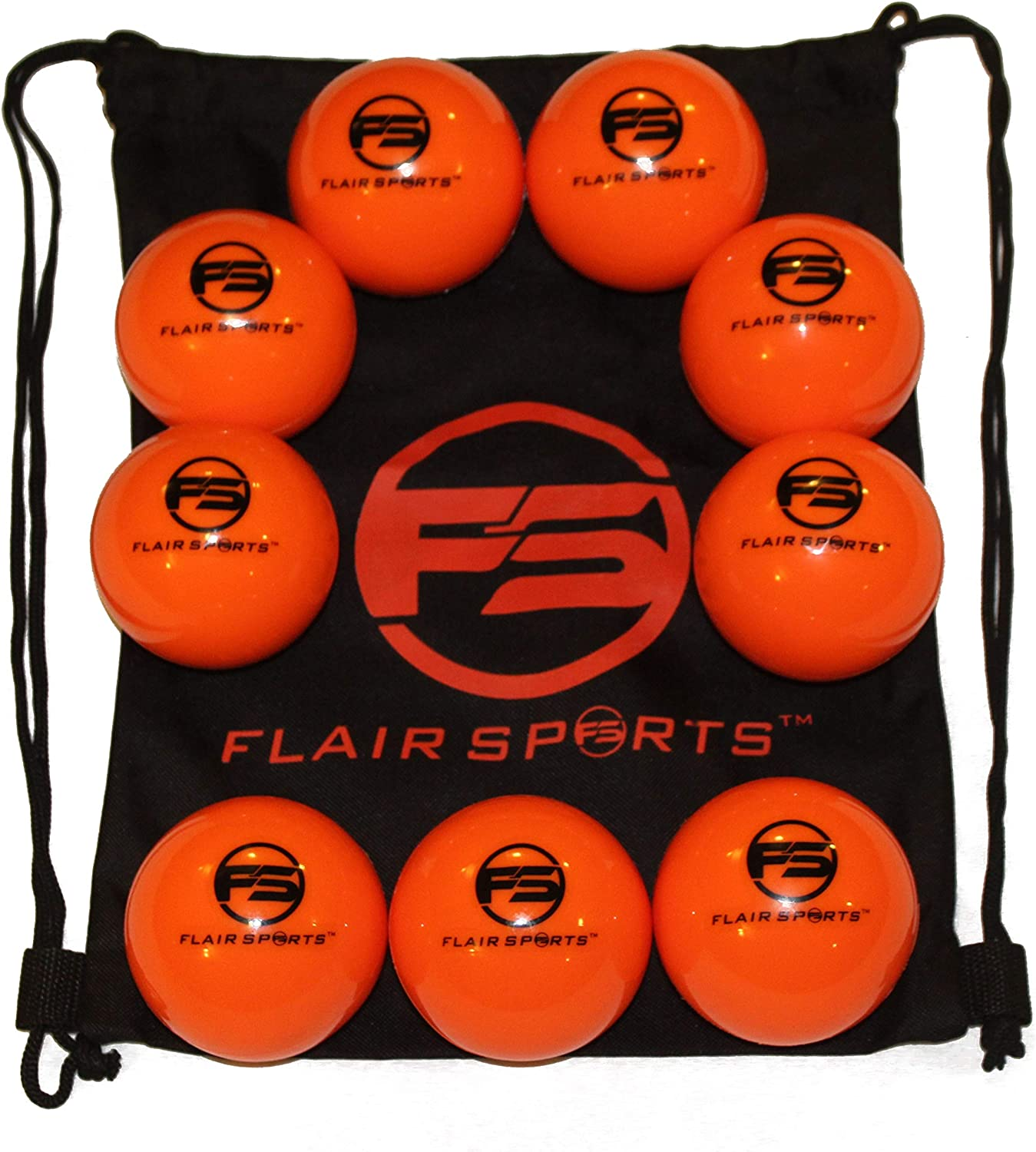 """Flair Sports - 9 Pack Baseball and Softball Weighted Training Heavy Balls for Hitting and Pitching - Improve Power - Bonus Carry Bag Included (16 Ounces and 3"""" Diameter) - Limited Flight"""