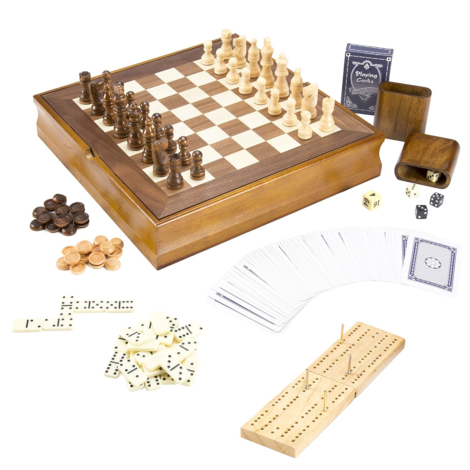 Wood Chess 7 Games in1 Combo Set with Chess, Checkers, Cribbage, Backgammon, Dominos, Poker & Dice - Includes Bonus Deck of Cards!