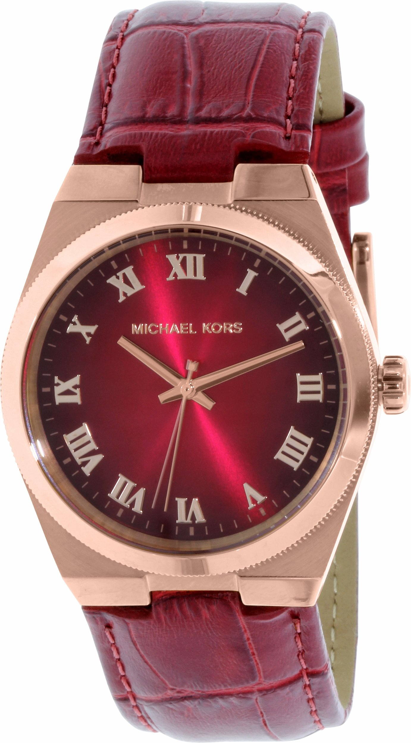 Michael Kors Channing Red Dial Red Leather Unisex Watch MK2357