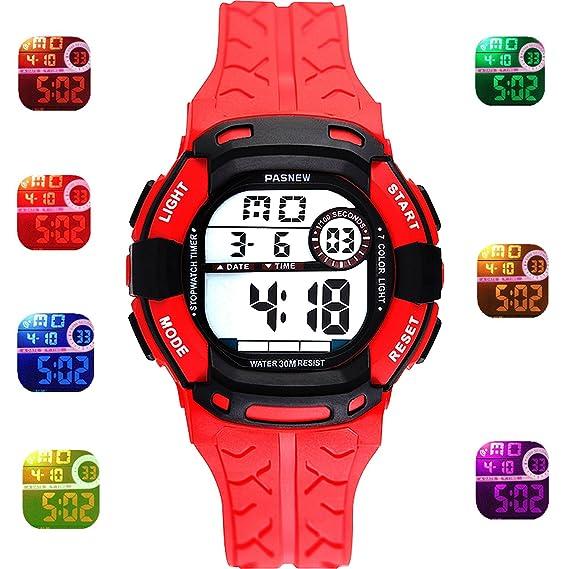 1ab29e93c Kids Sport Outdoor Digital Waterproof 7-Color Flashing Light for Childrens Boys  Girls Kids Gift