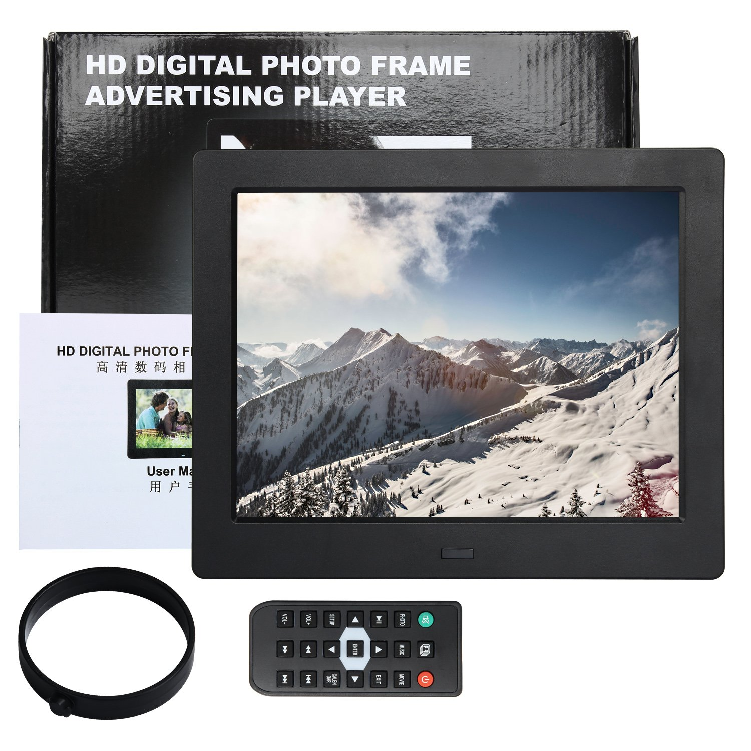 Digital Picture Photo Frame 8 Inch IPS Widescreen Electronic Picture Frame High Definition(1080P) with LCD Display 1024x768,No USB/SD Included,with Wireless Remote Control(Black) by Acecharming (Image #2)