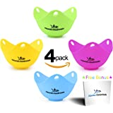 Egg Poacher Cups (4 Pack) – Premium Poached Egg Maker, BPA-Free Easy Release Silicone Poach Pods for Pot, Pan, Stovetop, Microwave, and Perfect Poach Egg