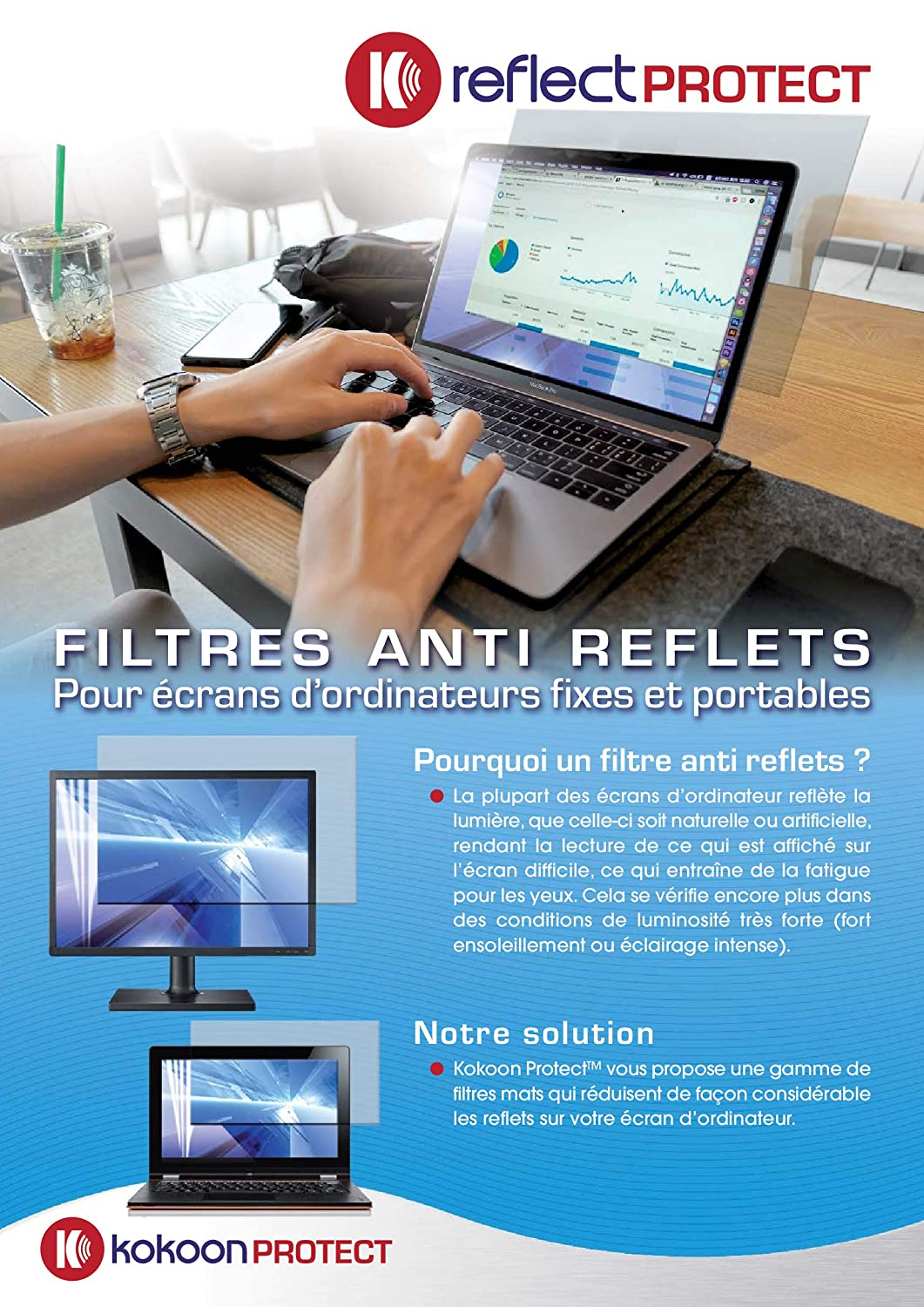 REFLECT PROTECT Film Protecteur Anti-Reflets 22 Taille 475 297