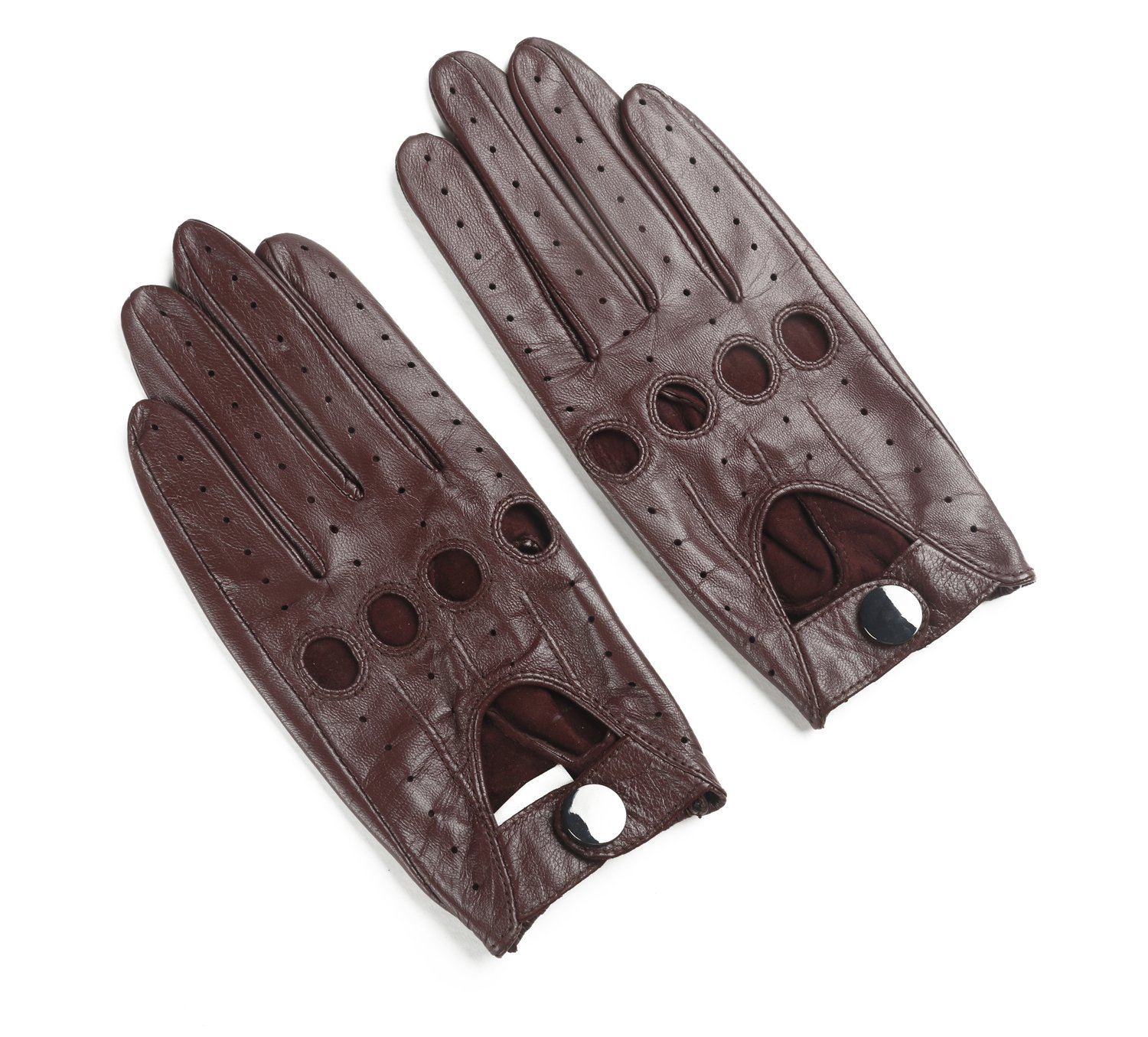 Ambesi Women's Open Back Leather Driving Gloves Wine S