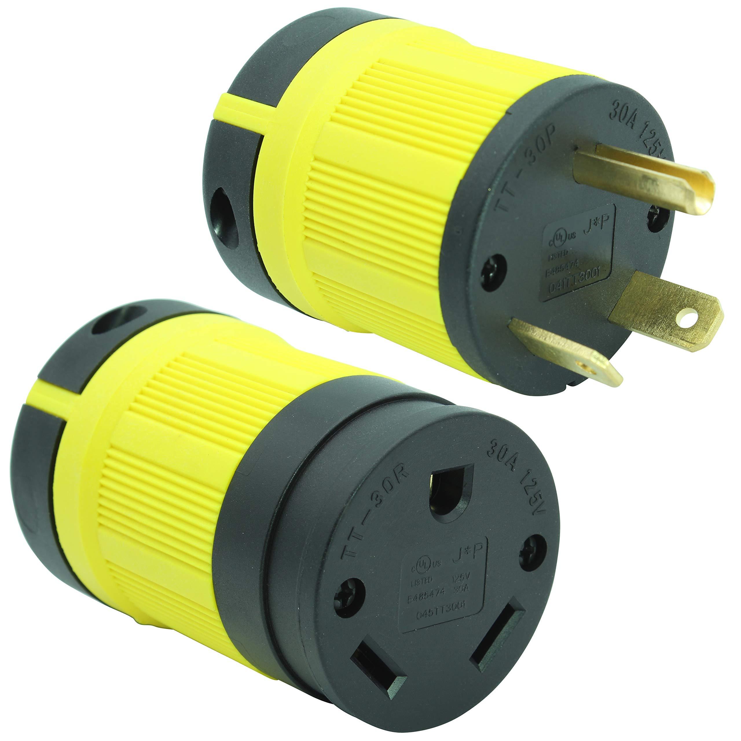 Journeyman-Pro 30 Amp, Plug & Connector Set, NEMA TT-30P + TT-30R, 125V, Straight Blade RV Trailer Plug Connector Combo, Black/Yellow Industrial Grade, Grounding 3750 Watts Generator TT30C (Yellow)