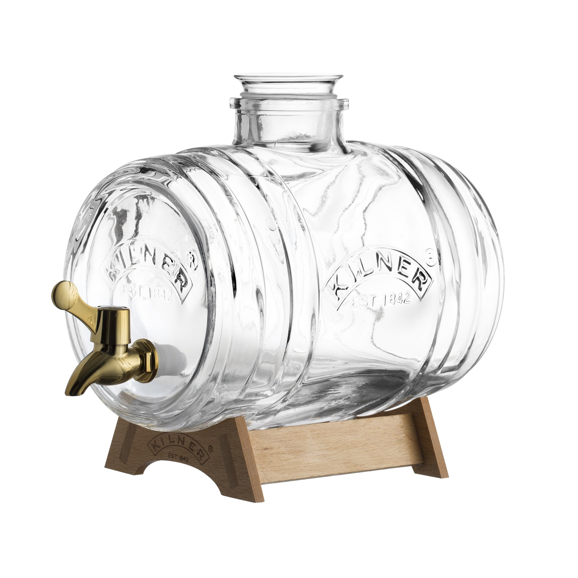 Kilner Glass Barrel Drink Dispenser, 3-1/2-Liters, Vintage Design with Wooden Stand, Glass Stopper and Built-in Jigger, Leakproof Easy-Pour Spigot and Airtight Silicone Seal