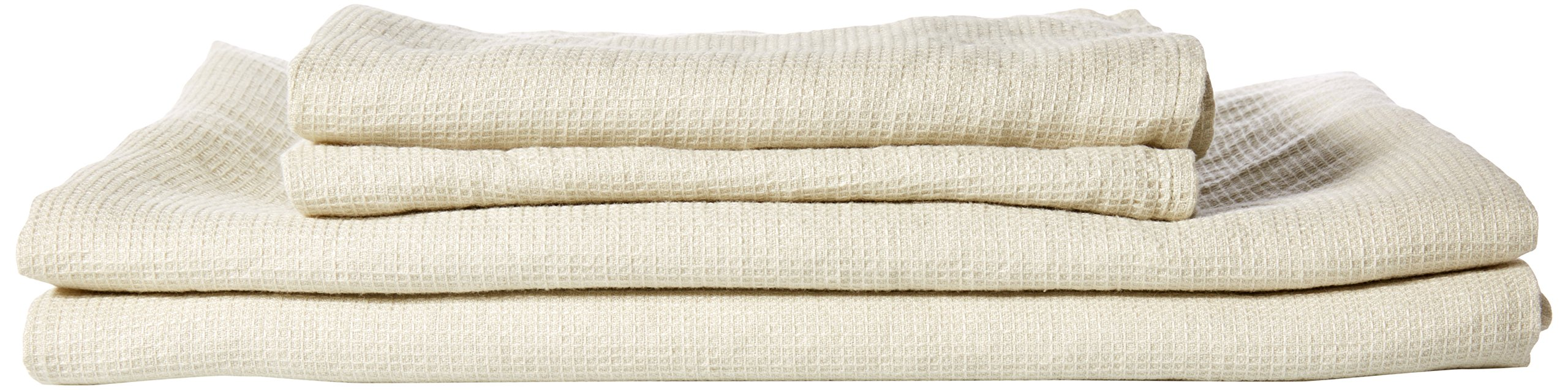 LinenMe 05511 Waffle Washed Linen Bath and Hand Towel Set, Aloe Green