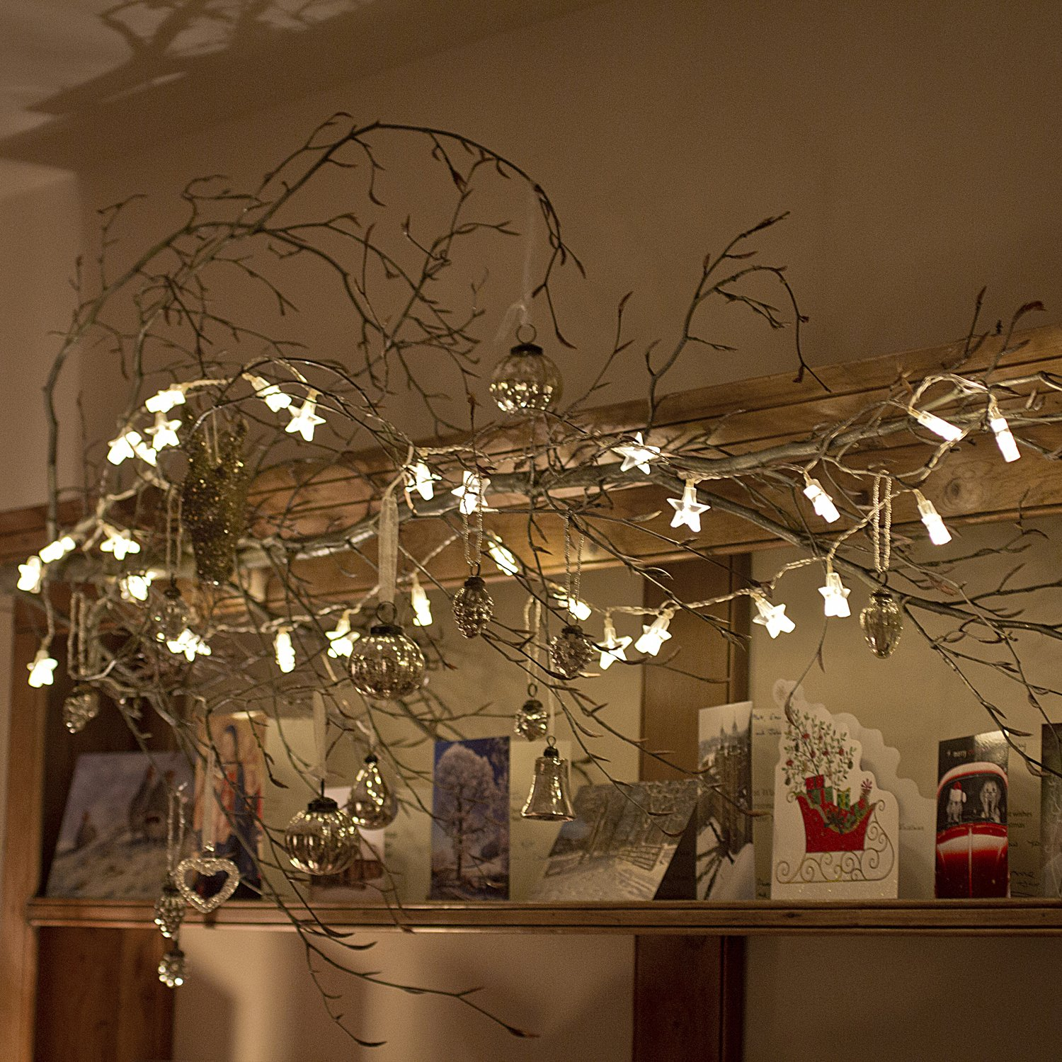 Cosy bedroom fairy lights - Indoor Star Fairy Lights With 30 Warm White Leds By Lights4fun Amazon Co Uk Kitchen Home