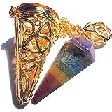 Pendolo di Metallo per Radiestesia Esoterismo (Tipo 41  7 Chakra corpo con gabbia color oro)