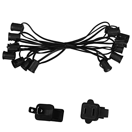 Amazon Com 15 C9 Commercial Light Stringer Spt1 Black Wire 12