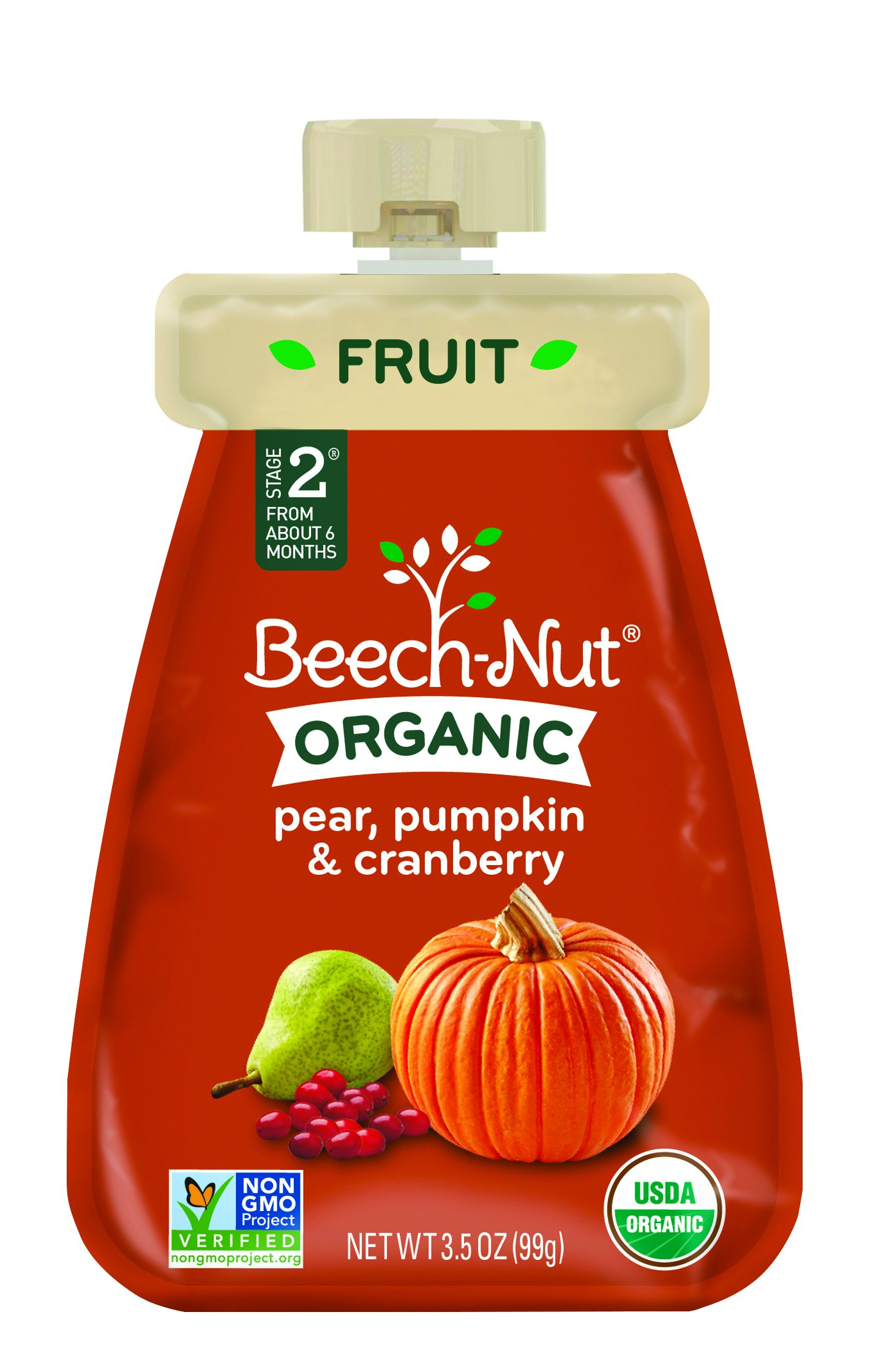 Beech-Nut Organic Baby Food, Stage 2, Organic Pear, Pumpkin & Cranberry