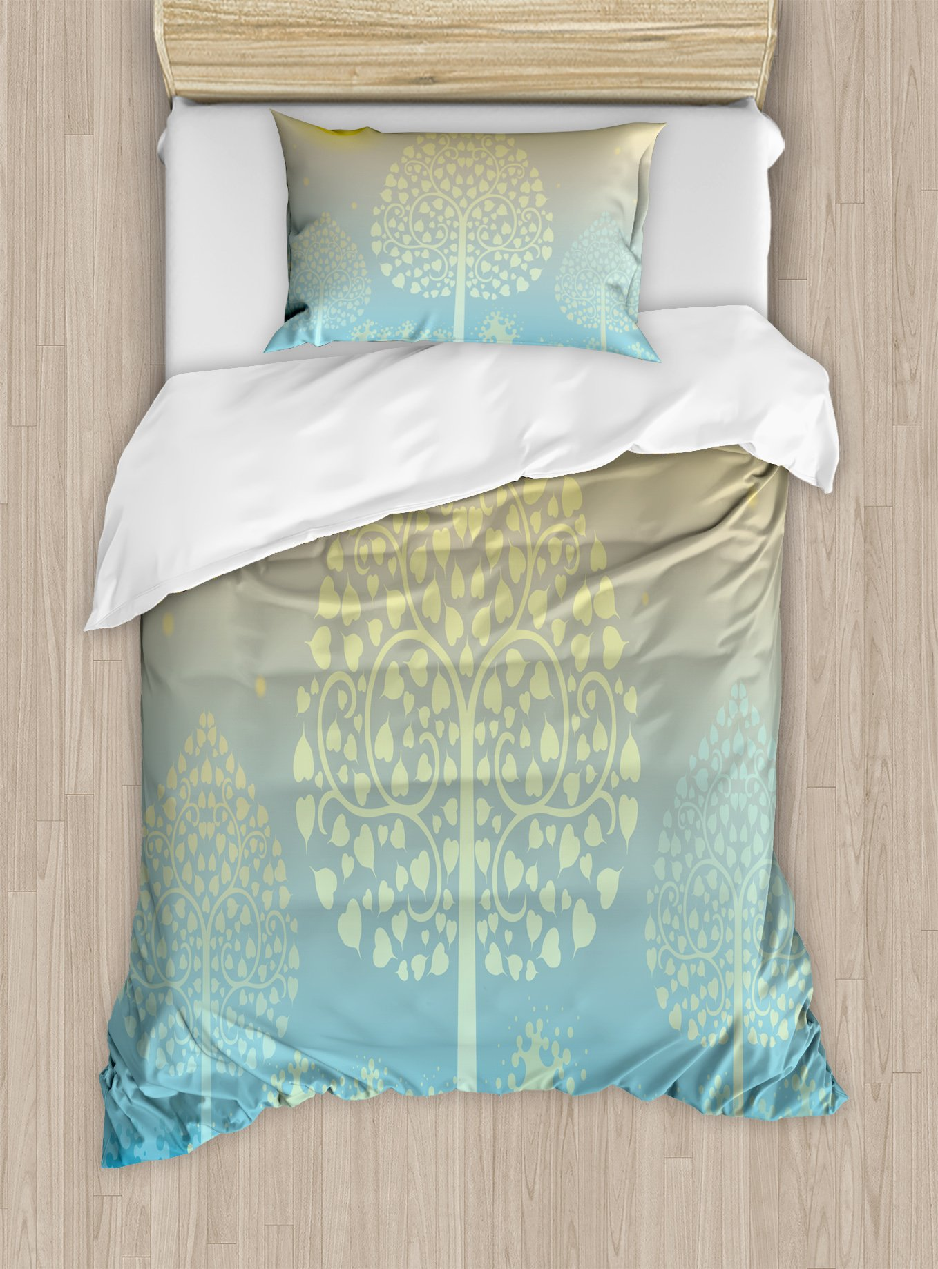 Ambesonne Art Duvet Cover Set Twin Size, Thai Pattern Design Illustration of Gold Tree Oriental Culture Asia Eastern Ways, Decorative 2 Piece Bedding Set with 1 Pillow Sham, Gold Sky Blue