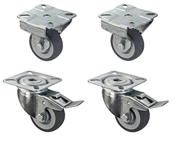 Satz Apparaterolle Gummi grau 100 mm Anschraubplatte Bockrolle Lenkrolle