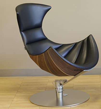 Fjords Lobster Recliner Chair In Passion Black Leather With Matte Chrome  Base And Modern Walnut Egg