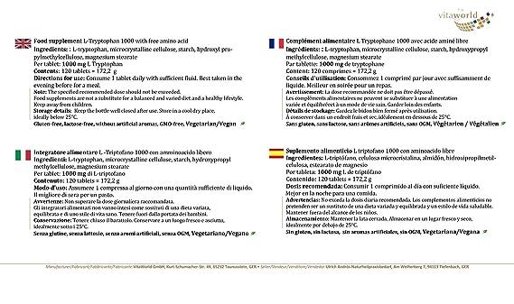 Pack de 3 L-Triptófano 1000mg 3 x 120 Tabletas Vegetales ...