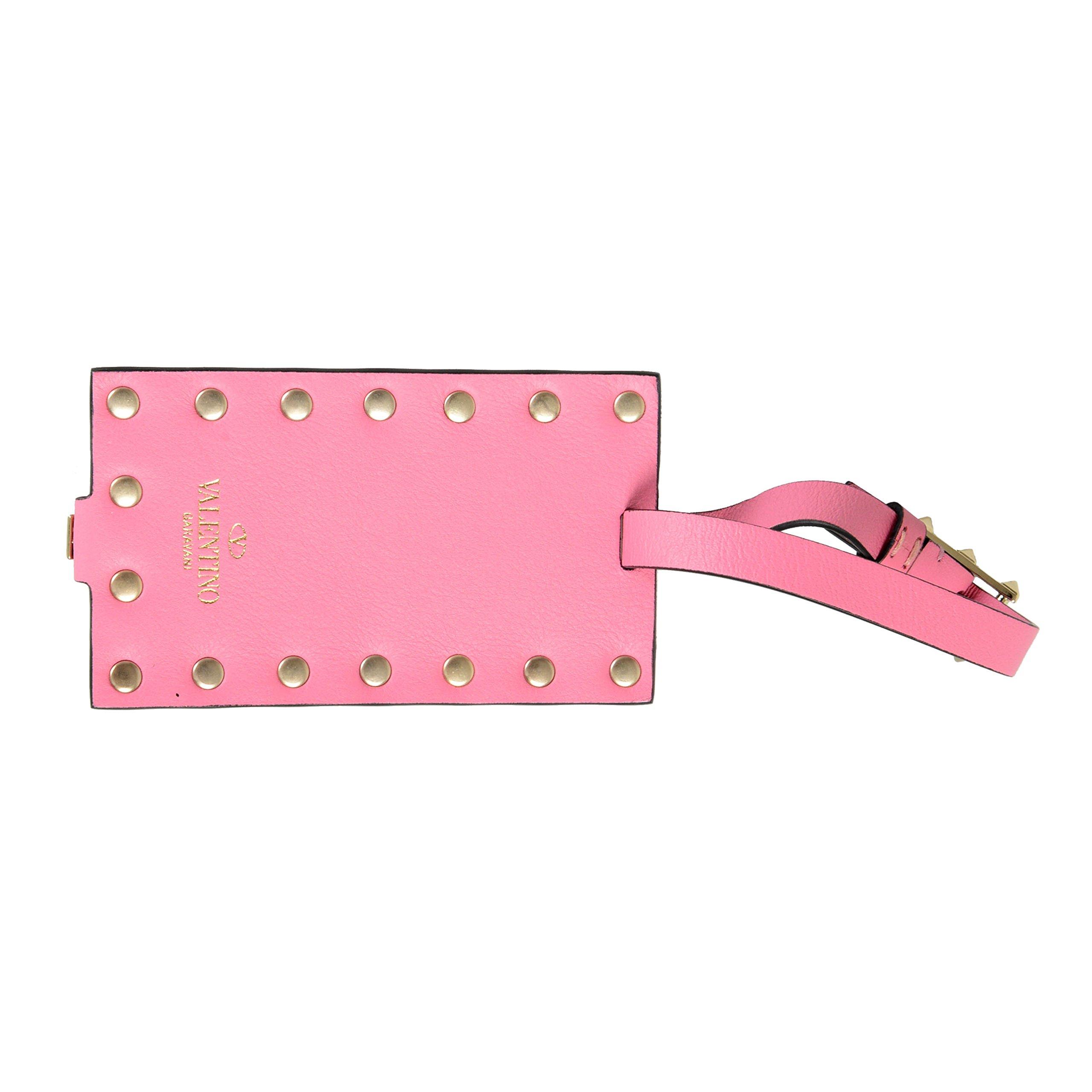 Valentino Garavani Unisex Pink Rockstud Leather Fashion Luggage Tag