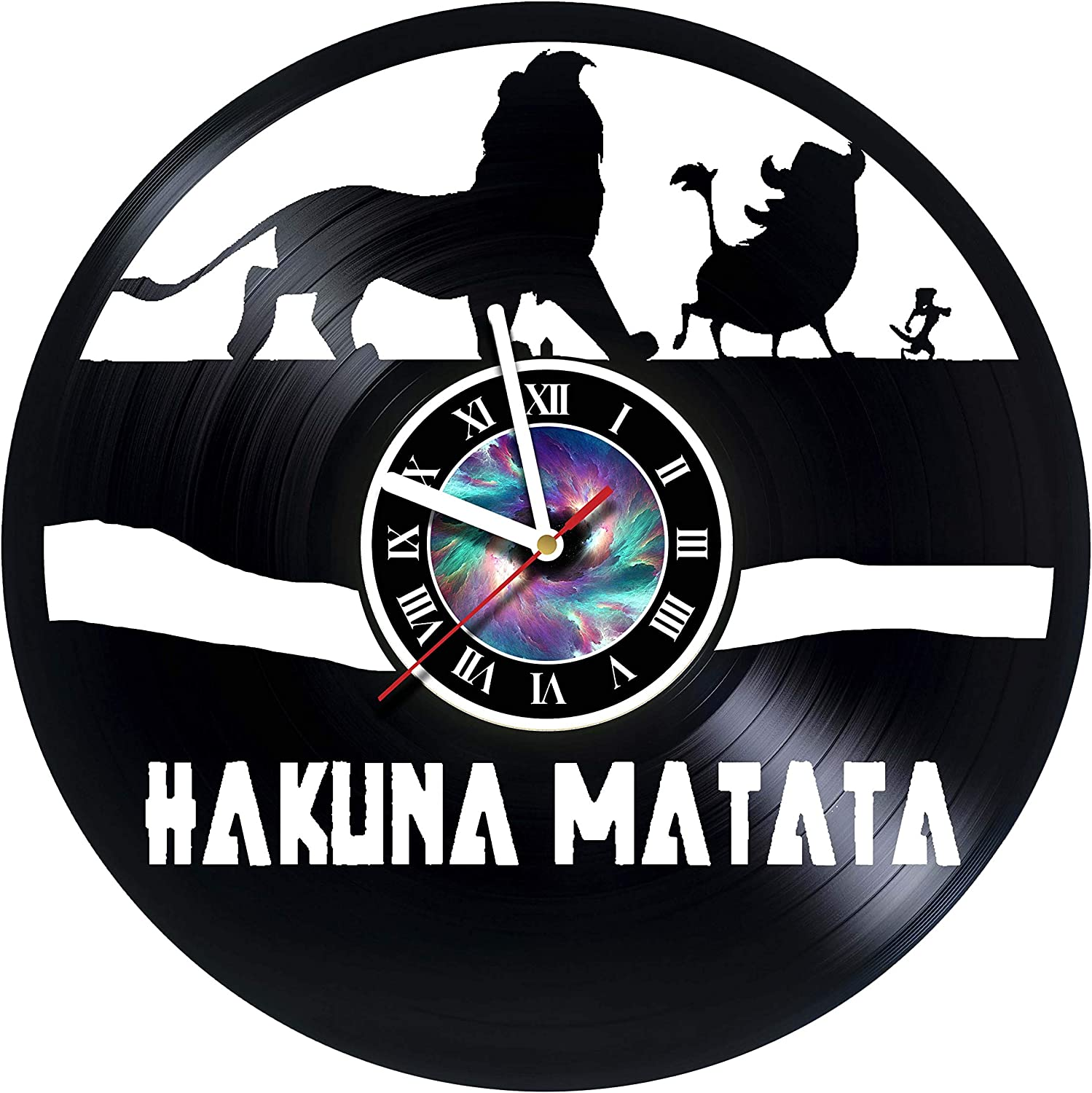 KravchArt Hakuna Matata - Lion King - Vinyl Record Wall Clock - Get Unique Gifts Presents for Birthday, Christmas, Ideas for Boys, Girls, Men, Women, Adults, him and her - Sport Unique Design