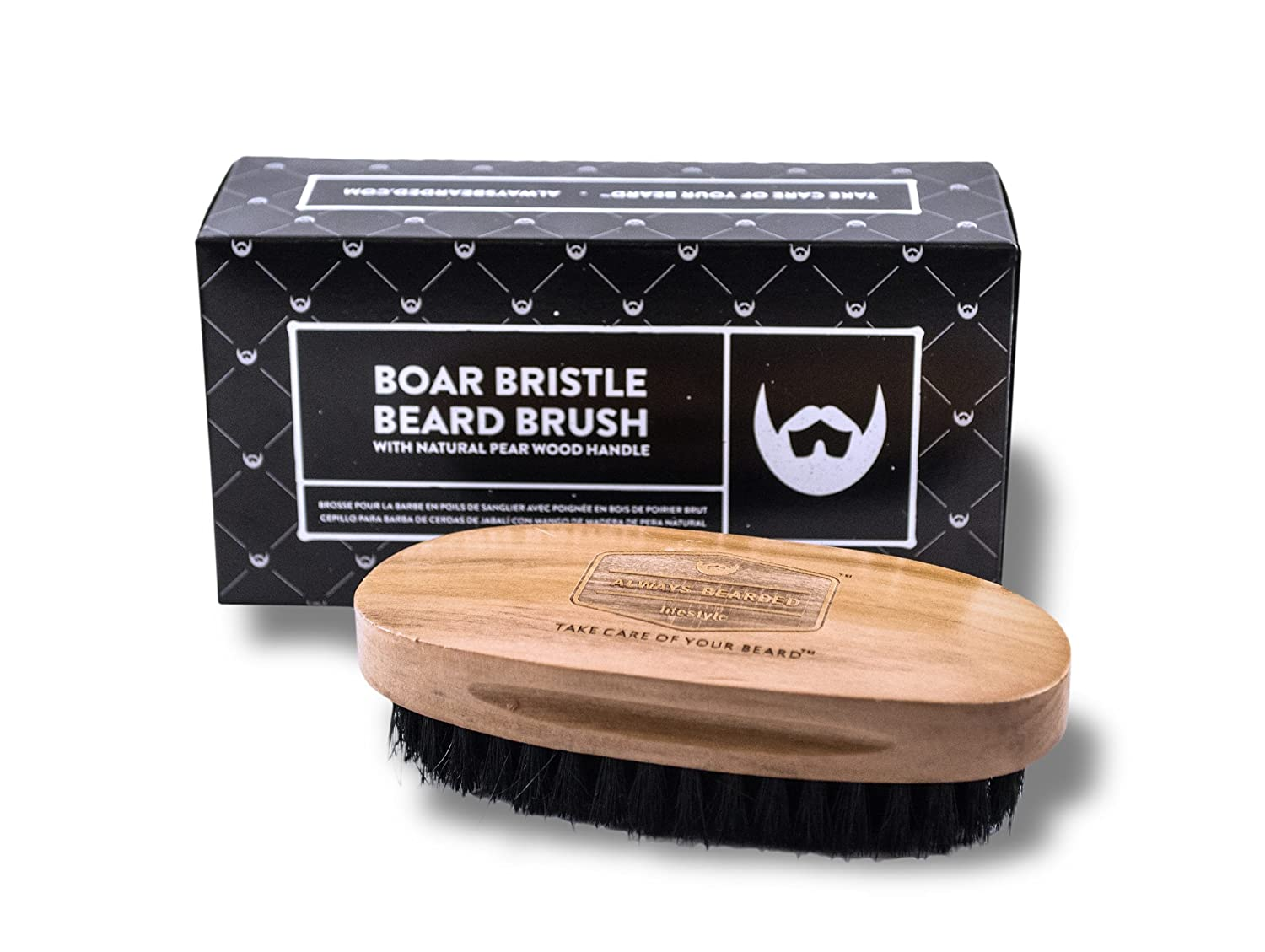 Boar Bristle Beard Brush. Ethically sourced, 100% Natural Black Boar Bristles. Medium Strength Bristles with Pear Wood Handle. Promotes Healthy Skin and Beard Growth. Always Bearded Lifestyle