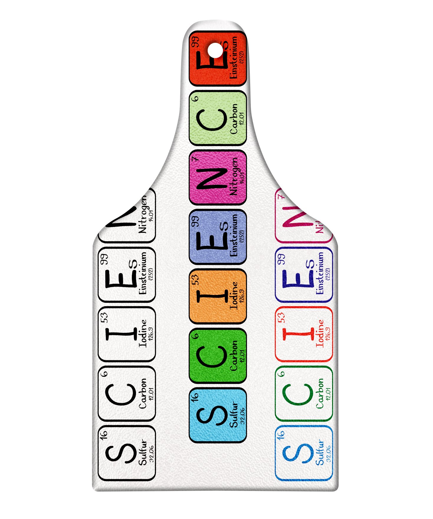 Ambesonne Periodic Table Cutting Board, Science Letterings with Capital Elements School Students Chemistry Lovers, Decorative Tempered Glass Cutting and Serving Board, Wine Bottle Shape, Multicolor