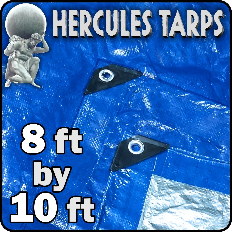 Hercules Tarp Shelter Cover Waterproof Tarpaulin Plastic Tarp Protection Sheet for Contractors, Campers, Painters, Farmers, Boats, Motorcycles, Hay Bales (-8x10)