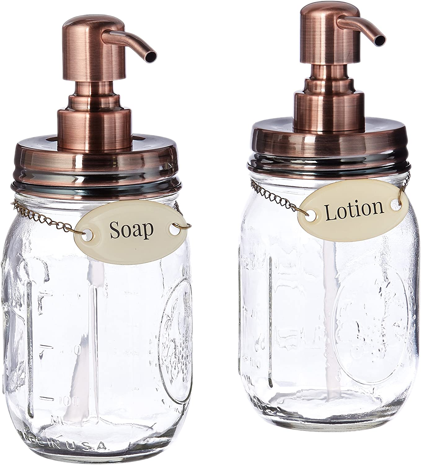 Duke Baron Soap& Lotion Soap & Lotion Set of Vintage Style Mason Jar Lotion and Soap Dispenser with Antique Finish and Brass Name Tags