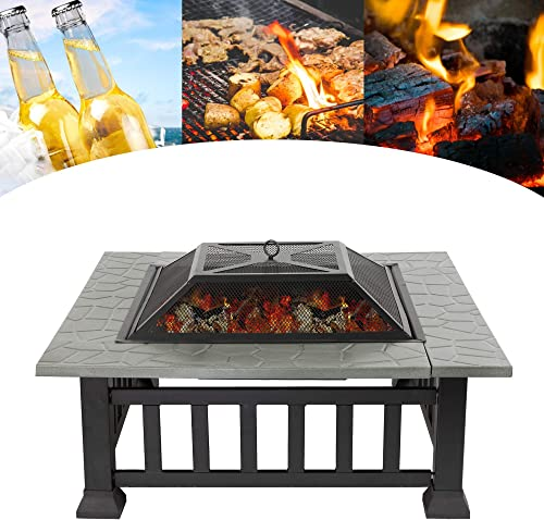 Koreyosh 32'' Square Metal Outdoor Fire Pits Wood Burning BBQ Fire Pit Multifunctional Patio Garden Stove