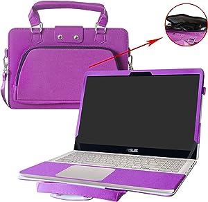 "ASUS Q505UA Q525UA Q535UD Case,2 in 1 Accurately Designed Protective PU Cover + Portable Carrying Bag for 15.6"" ASUS Q505UA Q525UA Q535UD Series Laptop,Purple"