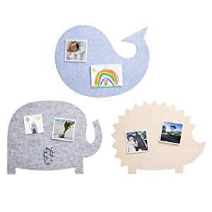 Nooske Felt Pin Boards for Kids - Decorative Display Boards for Pictures, Notes, Artwork, Memo - Wall Accessories for Child's Bedroom or School Classroom - With 12 Push Pins and Adhesive Tape - 3-Pack