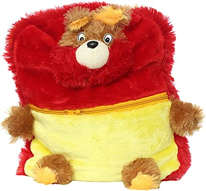 Bagaholics Cute Teddy School Bag Soft Plush Toy School Backpack for Kids (Red)