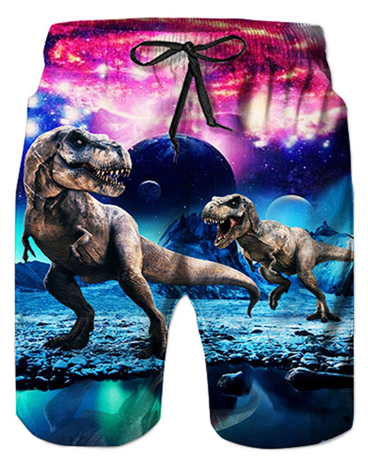 a5bc4bf024 Alistyle Mens Boys 3D Dinosaur Graphic Shorts Swimming Shorts Summer Beach  Shorts