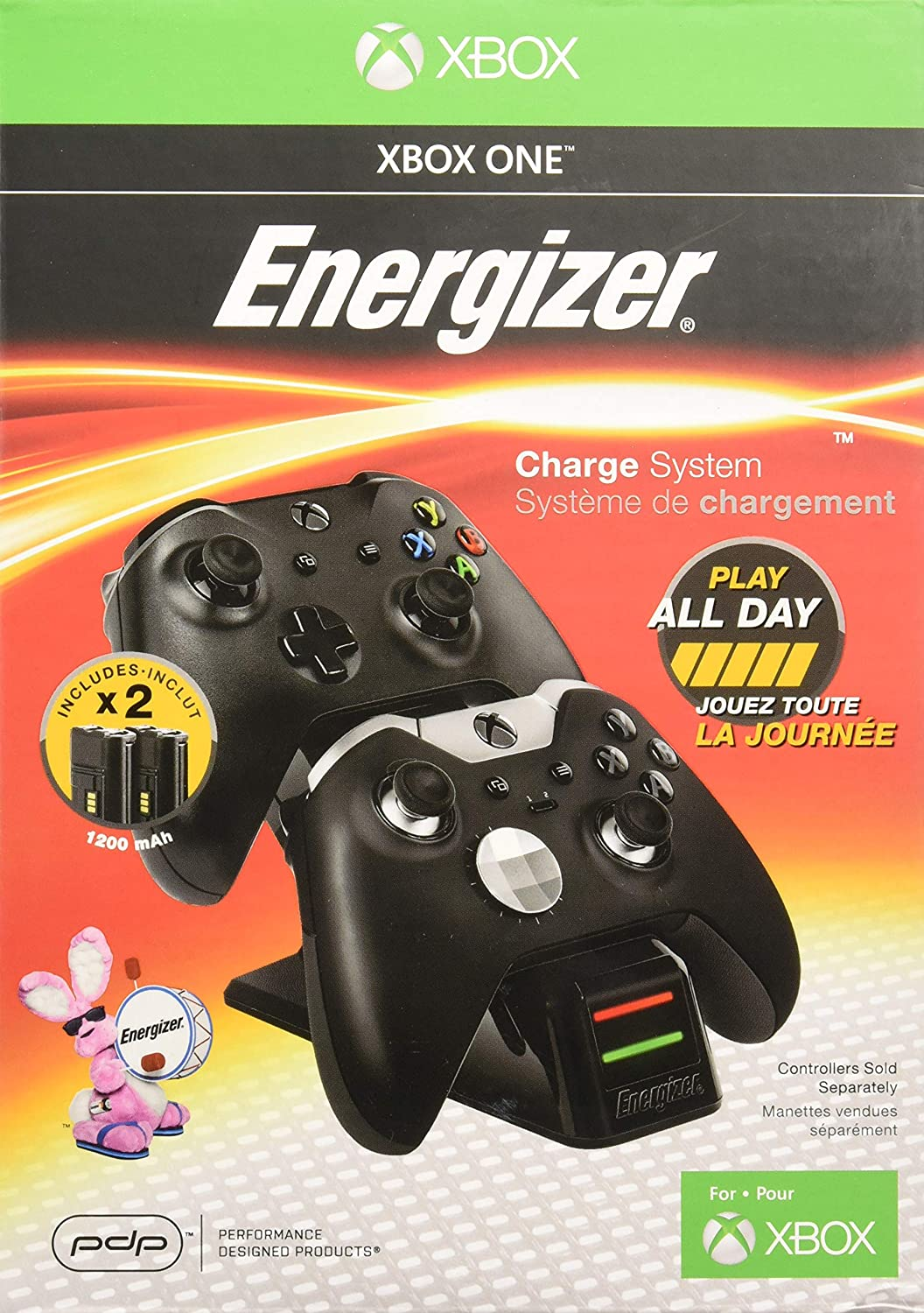 PDP Energizer Xbox One Controller Charger with Rechargeable ...