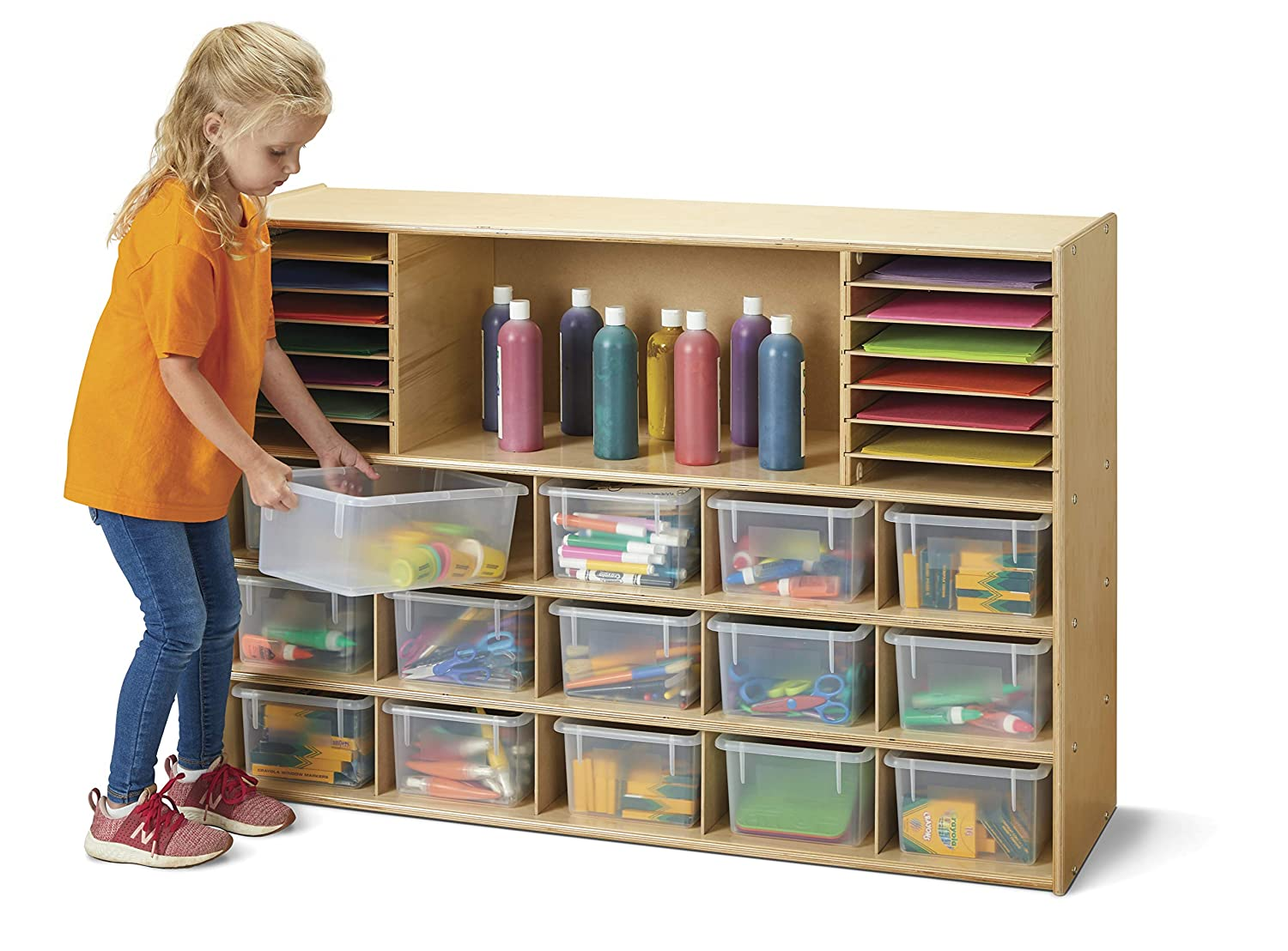 Jonti-Craft Young Time 7032YT Sectional Cubbie-Tray Storage with Clear Bins