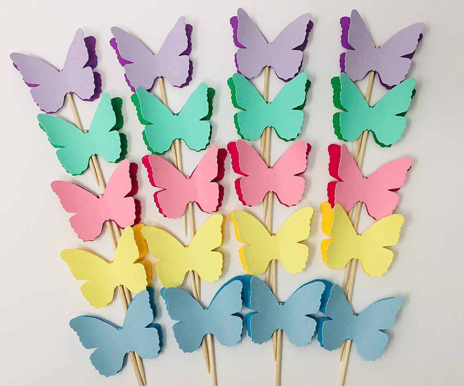 Set of 20 Butterfly Garden Cupcake Toppers Birthday and Baby Shower Decorations