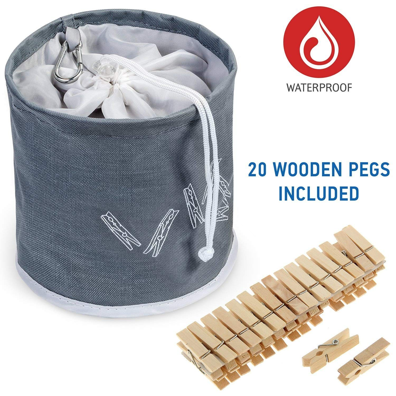 Tatkraft PEGGY Clothespin Bag Hanging Waterproof+ 20 Pins Starter Kit Included, Drawstring Closure