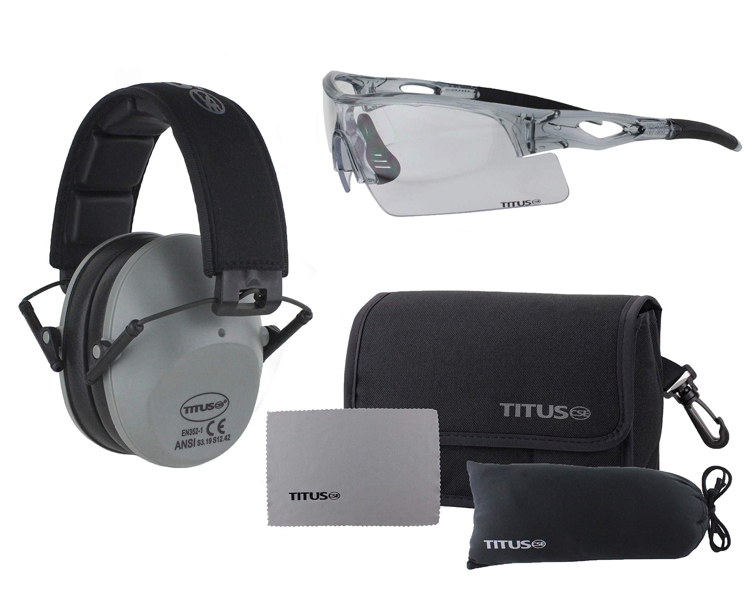 TITUS Slim-line Earmuffs and Safety Glasses Combo Pack (Grey, Grey Frame w/Clear Lens) by Titus