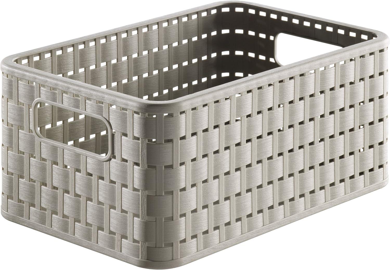 Rotho Country - Caja de almacenaje con efecto de mimbre, Beige, A5