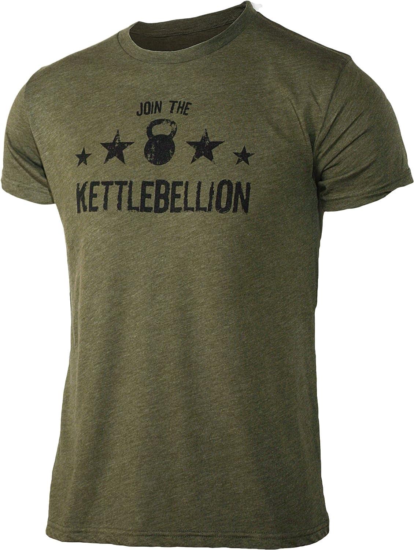 Jumpbox Fitness ¡Únete a la kettlebellion – Verde Militar – Hombres de la Pesa Rusa Triblend Camiseta de Entrenamiento