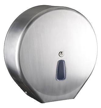 Dispensador Dispensador para papel higiénico Maxi Jumbo Acero inoxidable Mar Plast Inox Satinato