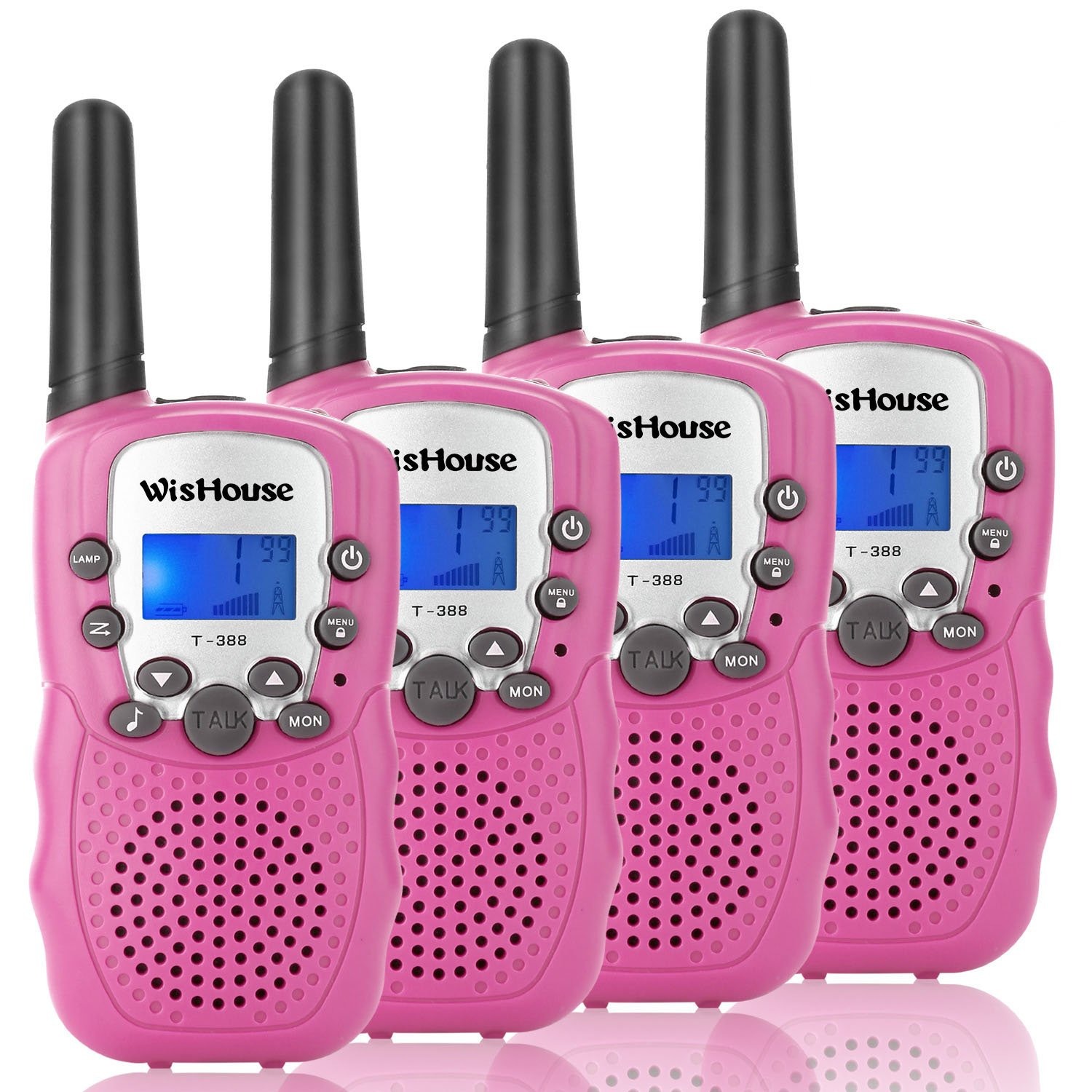 Wishouse Walkie Talkie Kids Toy Set,Best Gifts Easy use Two Way Radios for Girls, 22 Chanels 3 Miles Long Range Cool Vox walky Talky for Camping Hiking Fishing Outdoors(T388 Pink, 2 Pairs) by Wishouse (Image #1)