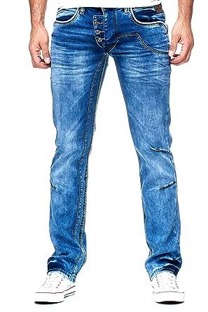 Rusty Neal Herren Jeanshose Used Look R-NEAL Jeans Hose Weiß Dicke Naht  8442-30  Amazon.de  Bekleidung 76f852927b