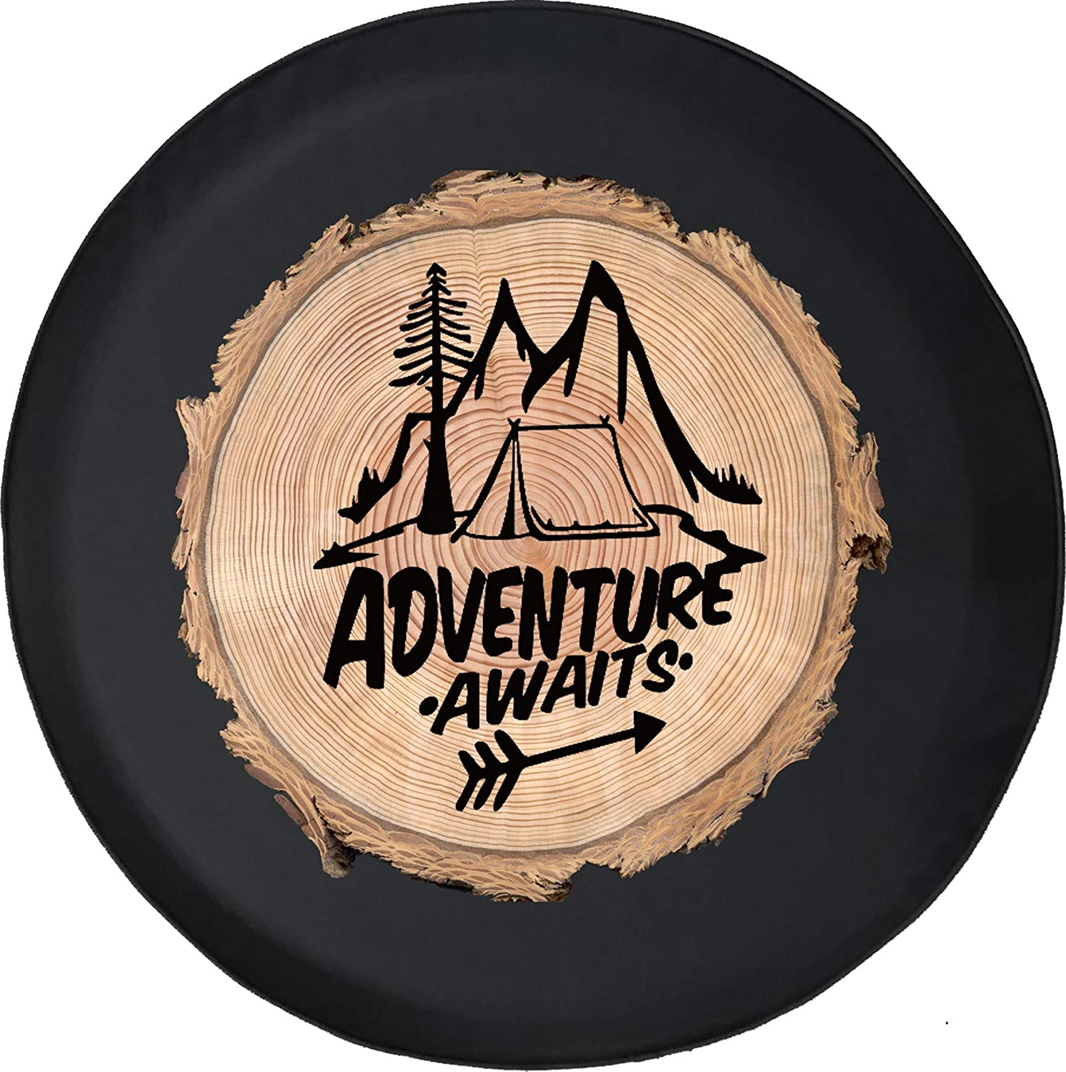 556 Gear Adventure Awaits Wood Series Log Camping Mountains Jeep RV Spare Tire Cover Black 33 in