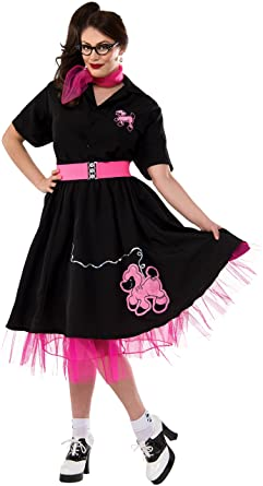 b49b1cca19a7 Amazon.com: Rubie's Costume Co Women's 1950's Plus Size Black Poodle Skirt  Costume: Clothing