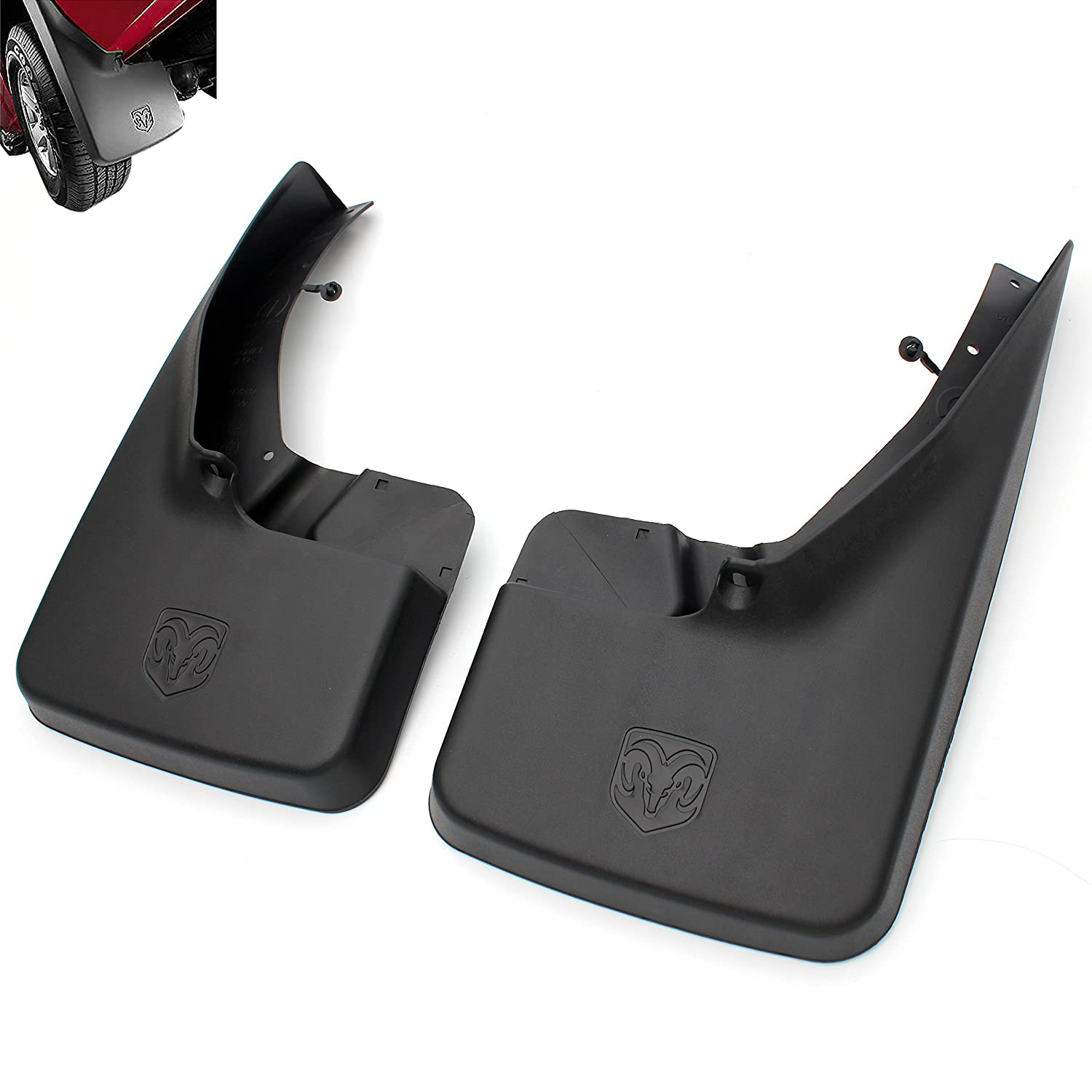 Yomikoo Mud flaps,Deluxe Molded Splash Guards Front and Rear Mud Fenders Ram mud flaps OEM For 2010-2016 Dodge Ram 1500 2500 3500 Full Set 4pcs With logo Rubber
