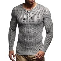 LEIF NELSON Herren Pullover Strickpullover Hoodie Basic Rundhals Crew Neck Sweatshirt Longsleeve Langarm Sweater Feinstrick LN1605